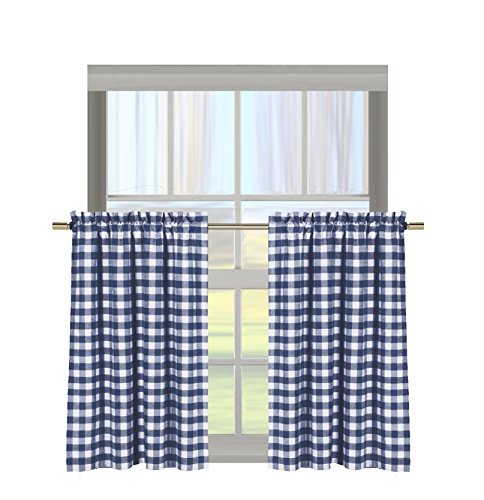Bathroom and More Gingham Check Kitchen Window Curtain Cafe/Tiers Set: Plaid, Cotton Rich, 29