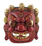 Nepalese Lord Mahakala Tibetan Buddhism Hand Crafted Wooden Mask Wall Decor