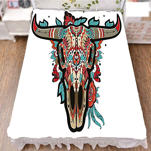 iPrint Bed Skirt Dust Ruffle Bed Wrap 3D Print,Skull Colorful Ornate Design Horned Animal Trophy,Fashion Personality Customization adds Color to Your Bedroom. by 59''x78.7'' by iPrint