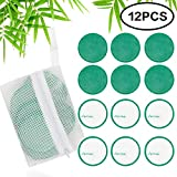 Makeup Remover Pads Natural Bamboo Cotton 12 Packs Reusable Makeup Remover Cloth Wipes with Laundry Bag Multifunctional Washable Pads for Women & Men Skin Care