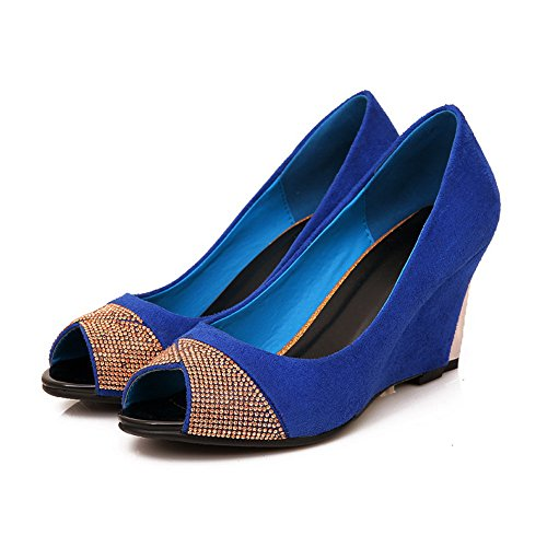 AmoonyFashion Womens Open Peep Toe High Heel Wedge Suede Soft Material Solid Pumps with Glass Diamond Blue A4KND7