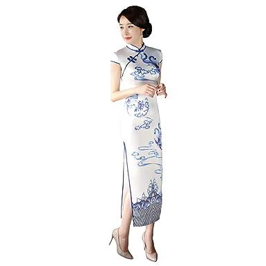 4bed8dd1ce9 Amazon.com  Shanghai Story Long Cheongsam Dress Faux Silk Qipao Traditional  Chinese Dress  Clothing