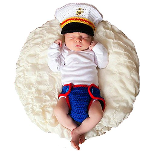 - Newborn Photography Props Outfits - Baby Boy/Girl Knitted Cap Pants Marines Costume Set