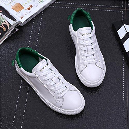 HGTYU-Al Final Del Otoño Zapatos Blanco Verde La Chica Imitación Cuero Calzado Deportivo Placa De Fondo Plano La Versión Coreana Del Sistema Del Estudiante Con Solo Zapatos White
