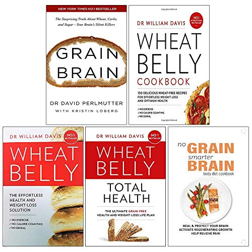 Grain Brain, Wheat Belly Cookbook, Wheat Belly, Total Health [Hardcover], No Grain Smarter Brain Body Diet Cookbook 5 Books Collection Set