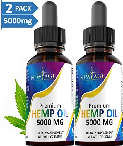 (2-Pack) 5000mg Hemp Oil Extract for Pain, Anxiety & Stress Relief - 5000mg of Pure Hemp Extract - Grown & Made in USA - 100% Na
