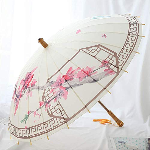 XQY Sun and Rain Umbrella,Parasol Umbrella Sunblock Uv,Sun Shade Umbrella-Umbrella Pink Peach Blossom Women Long-Handled Straigh with Tassel,Classic Wooden Handle/Manual Opening and Closing ()