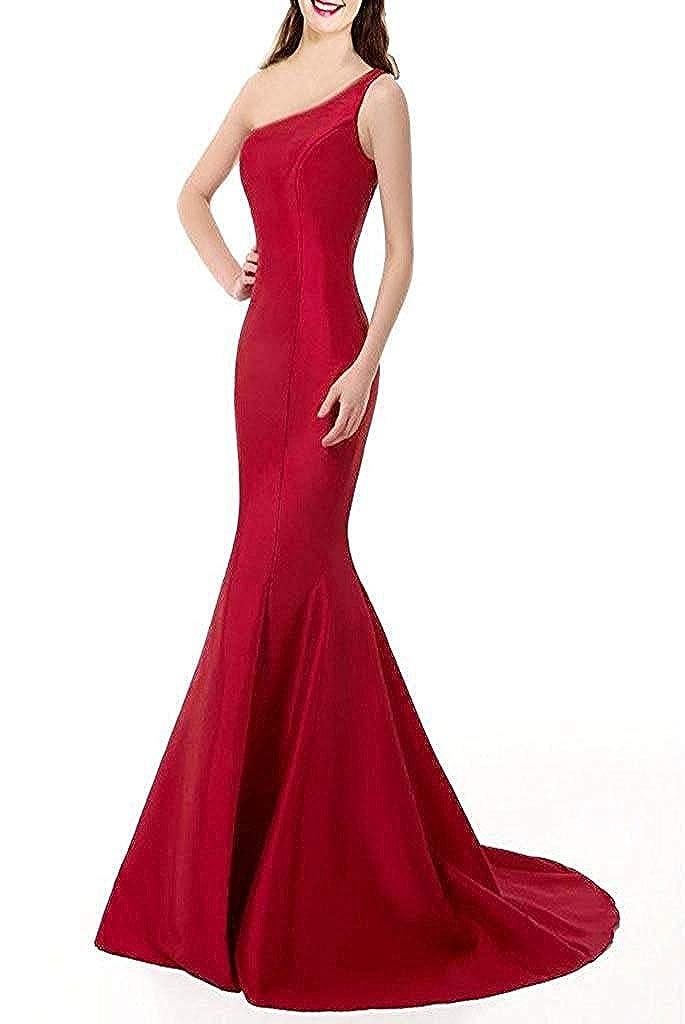 Elegant Cool Color E Dress Brief Mermaid One-Shoulder Evening Blue,
