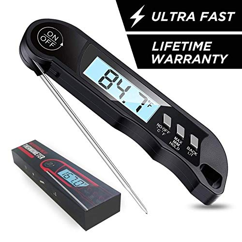 Digital Instant-Read Meat Thermometer - 2 Second Ultra-Fast Read, Great for Grilling & Cooking, Backlight, Waterproof, Min/Max Temperature Record