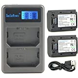 SmilePowo NP-FZ100 Battery (2-Pack 2280MAH) and Rapid Dual Charger for Sony NP-FZ100 Battery,Sony BC-QZ1,Alpha 9, Sony a9, Sony Alpha 9R, Sony a9R, Sony Alpha 9S, Sony a9S, Sony a7R III