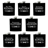 Set of 4, Set of 7 and more Custom Personalized Black Matte Flasks for Groomsmen Gifts - Uniform Style (8)