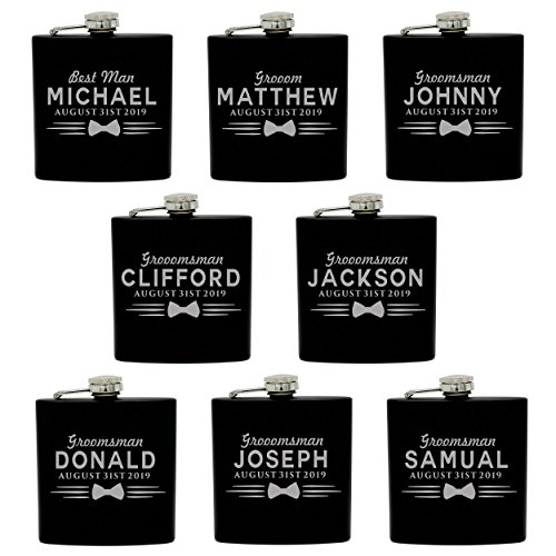 Set of 4, Set of 7 and more Custom Personalized Black Matte Flasks for Groomsmen Gifts - Uniform Style (8) by My Personal Memories (Image #4)