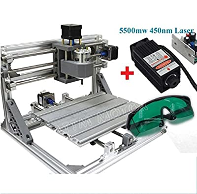3 Axis Desktop DIY Mini 2418 GRBL Control CNC Router Milling Engraving Pcb Wood Engraver Laser Machine+5500mw Laser Tube/laser head