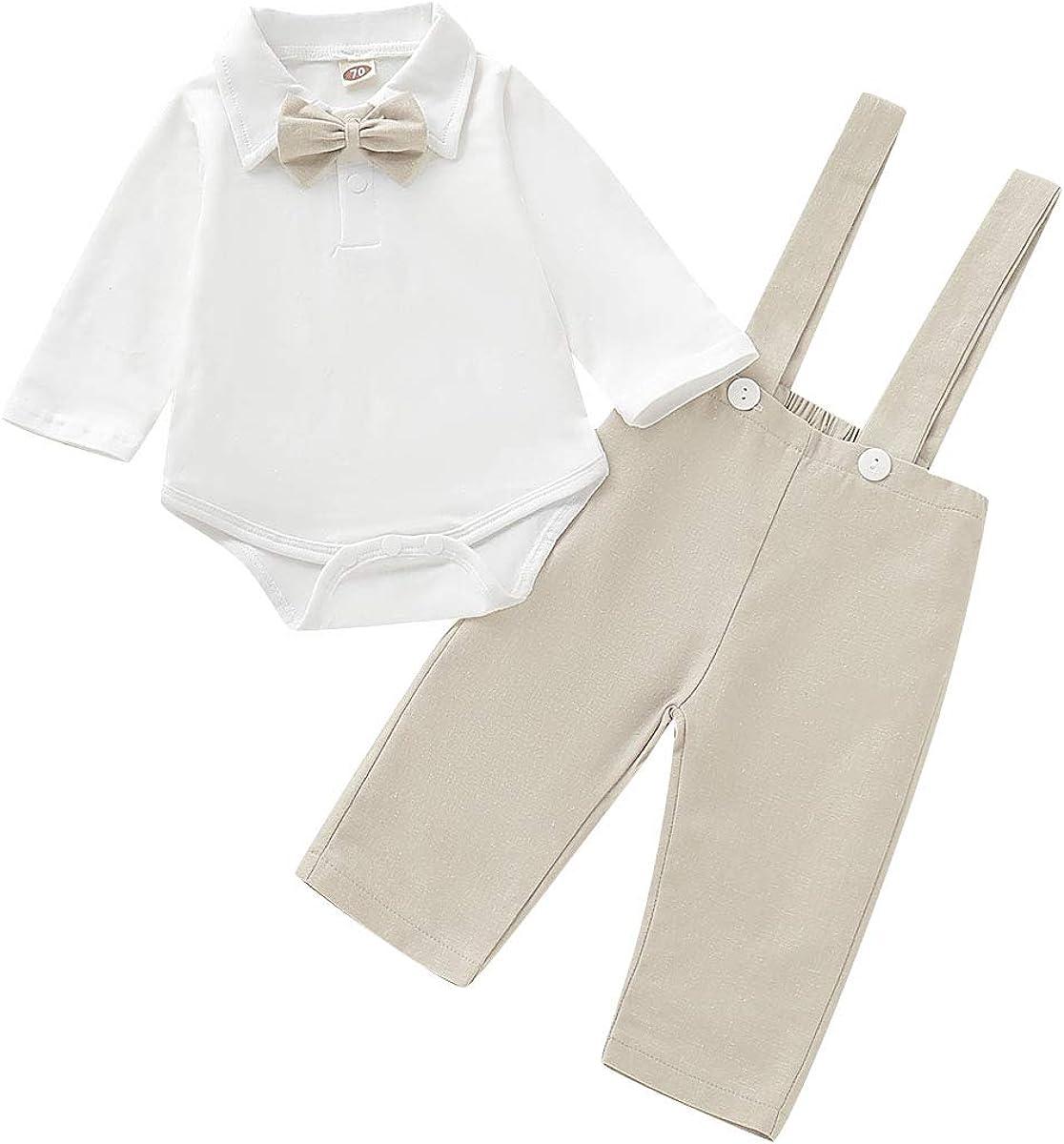 lang/ärmelig Borlai Baby Outfits f/ür Jungen und M/ädchen Strapshose f/ür Herren von 0-18 Monaten