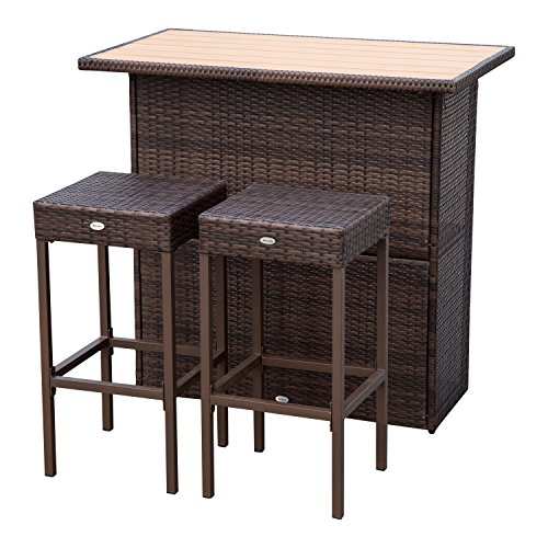 Outsunny 3 Piece Wicker Bar Set Outdoor Patio Rattan Furniture Set Garden Deck (Classics Chair Dining Garden Room)