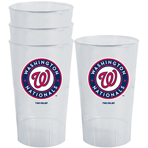 MLB Team Logo 4 Pack Plastic Tumbler Cups 16 Ounces (Washington Nationals) - Washington Nationals Tumbler