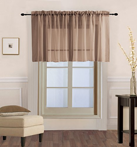Luxury Discounts 2 Piece Solid Elegant Sheer Curtains Fully Stitched Panels Window Treatment Drape (54