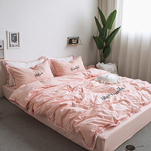 Price comparison product image MeMoreCool Fringe Bedding Sets Pink 100% Cotton Embroidery Princess Room Home Textiles Duvet Cover and Fitted Sheet Queen Girls Gifts