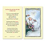 25PC, Baptismal - Girl (God Sent You the Best He Had - Baby Girl) Holy Card