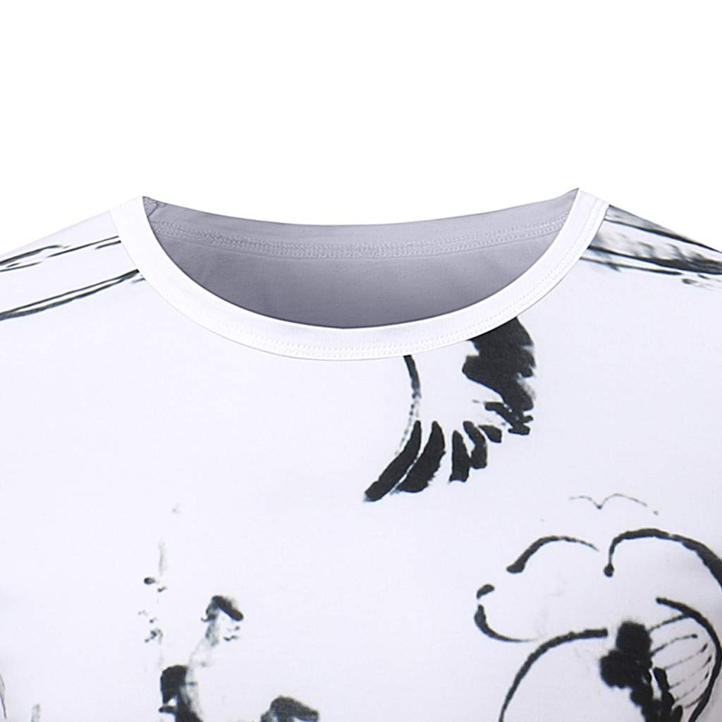 Topgee Mens T-Shirts Casual Pattern Print Short Sleeve Blouse Fit Round Neck Top