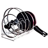 KINDEN Expandable Pots and Pans Organizer Rack for Cabinet - Holds 7 Pans & Lids to Keep Cupboards Tidy - Adjustable Bakeware Rack for Kitchen and Pantry