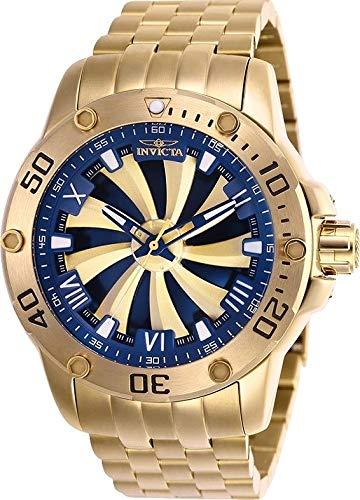 Invicta 25851 Speedway Automatic Movement Men's Watch with Blue and Gold Analog Sunray Dial and Stainless Steel Gold Bracelet with Yellow Gold Plated Case ()
