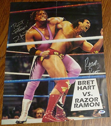 Photo Wrestling Original - Bret Hart & Razor Ramon Signed 16x21 Original WWF Poster WWE - PSA/DNA Certified - Autographed Wrestling Photos