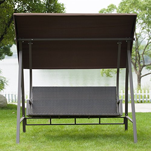 Porch Swing Outdoor Lounge Chair Seats 3 Patio PE Wicker Glider Bench with Steel Frame and Padded Cushion, Dark Brown by PatioPost (Image #8)