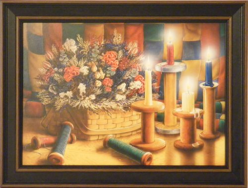 Homespun Treasures by Doug Knutson 12x16 Country Candles Dried Flowers Art Print Wall Décor Framed Picture