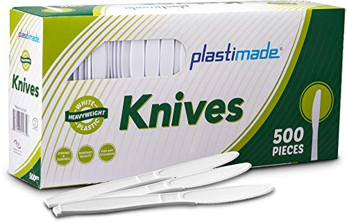 (Plastimade Extra Heavyweight White Plastic Disposable Knives. 500 Pack)