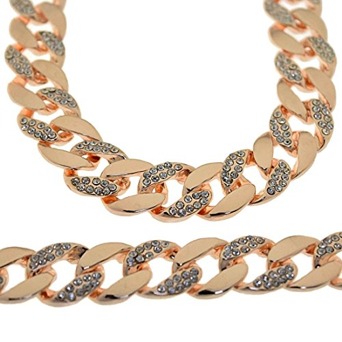 """30"""" Iced-Out Hip Hop Chain Rose Gold Finish 15 MM Wide Miami Cuban Link Men Bling Necklace"""