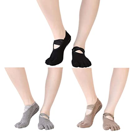 NANANA Yoga Socks Women Grips, Antideslizante Five Toe Socks ...