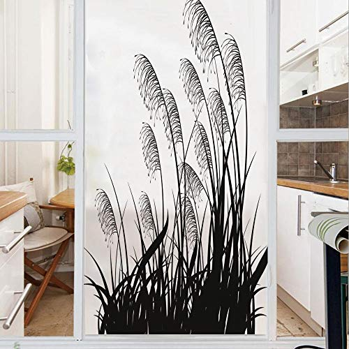 Decorative Window Film,No Glue Frosted Privacy Film,Stained Glass Door Film,Silhouette of Bushes Wild Plants Wheat Field Twiggy Herbs Seasonal Picture,for Home & Office,23.6In. by 78.7In White Black