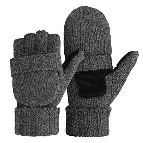 Bodvera Thermal Insulation Fingerless Texting Gloves Unisex Winter Warm Knitted Convertible Mittens with Flap Cover G