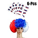 Coxeer Temporary Tattoo, 6 Sheets Tattoo Sticker Creative Russian Flag Fake Tattoos with Hair Wig