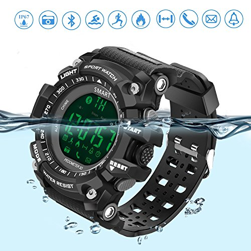Smart Watch Sports Bluetooth Watch Pedometer Fitness Tracker Wearable Technology IP67 Waterproof Remote Camera Running Equipment for Android and IOS Smartphones Best Choice for Men and Boys BLack