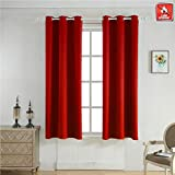 BEGOODTEX Inherent Flame Fire Retardant Room Darkening Blackout Window Curtains, 6 Silver Grommet, Red, 42Wx63L For Sale