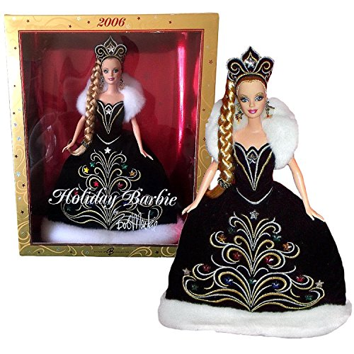 Mattel Year 2006 Barbie Collector Edition 12 Inch Doll - BARBIE HOLIDAY 2006 by Bob MacKie in Black Gown with White Faux Fur Plus Tiara & Earrings - Bob Mackie Holiday Barbie