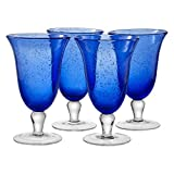 Artland Iris Footed Ice Tea Glasses, Cobalt Blue, Set of 4