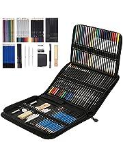 ToneGrip Conjunto de lápis de desenho e esboço com 72 peças, kit de lápis de cor profissional para esboço, grafite e haste de carvão, capa com zíper, materiais artísticos para adultos, crianças, artistas e adolescentes
