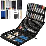 ToneGrip Conjunto de lápis de desenho e esboço com 72 peças, kit de lápis de cor profissional para esboço, gra