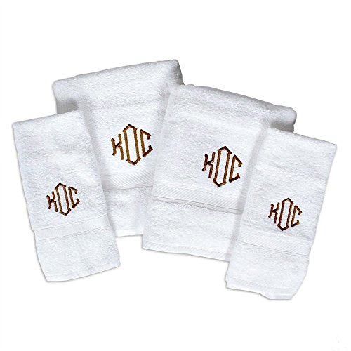 "Oxford Viceroy Four Piece Monogrammed Towel Set; Bath Sheet (35"" x 70"") Hand Towel Wash Cloth and Bath Mat"