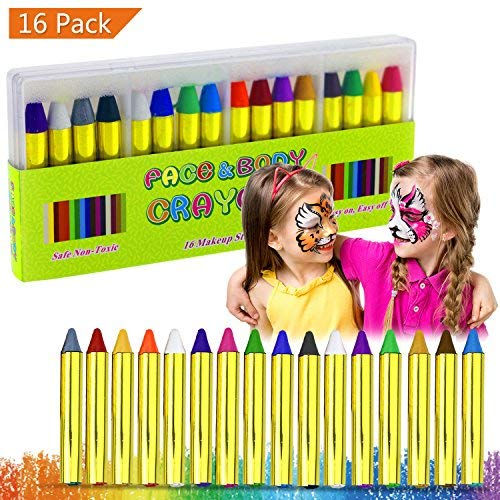 Buluri Face Paint Crayons, Face Painting Kits, 16 Colors Face Paint and Body Crayons, Safe & Non-Toxic Washable Face Paint, Face & Body Makeup for Parties, Cosplay, Birthday & Festivals for $<!--$7.68-->