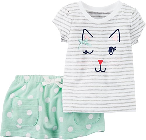Carter's Baby Girls' Short Sleeve Striped Cat Face Top and Dot Skirt Set 24 Months Striped Cat Face
