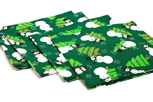 Fabric Napkins - Dinner - Luncheon - Holiday Napkins - Christmas Napkins - Cloth Napkins - Party Napkins - Snowmen - Green - Set of Four