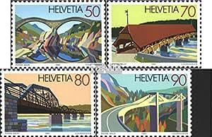 sellos para coleccionistas: Suiza 1450-1453 (completa.edición.) matasellado 1991 puentes
