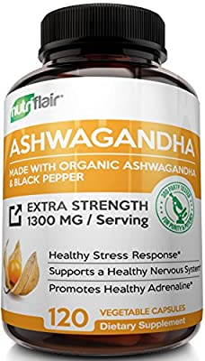Maximum Strength 1300MG Organic Ashwagandha with Black Pepper - Best Natural Supplement for Stress & Anxiety Relief, Mood Enhancer, Immune, Energy, Thyroid & Adrenal Support