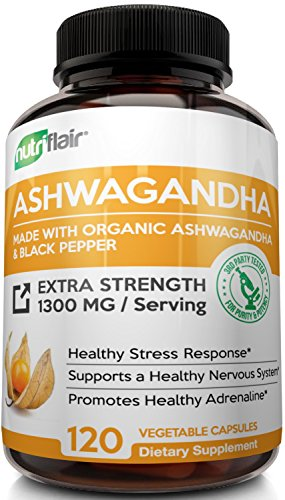 Maximum Strength 1300MG Organic Ashwagandha with Black Pepper (120 VEGGIE CAPSULES) - Best Natural Supplement for Stress & Anxiety Relief, Mood Enhancer, Immune, Energy, Thyroid & Adrenal Support