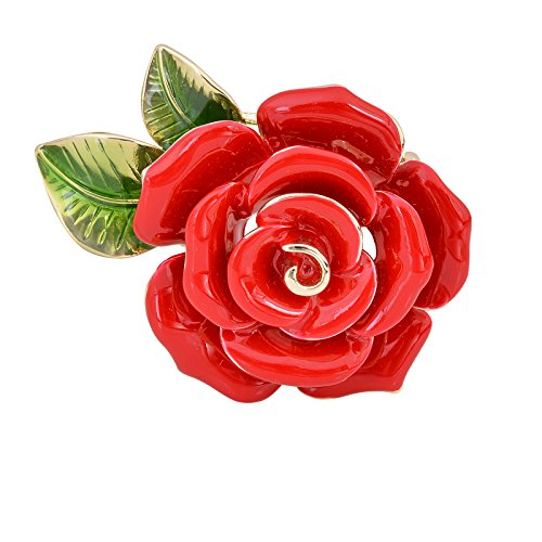 (OBONNIE Women Red Blue Enamel Rose Brooch Pin Flower Bud with Green Leaf Bouquet Wedding Party Jewelry (Red))