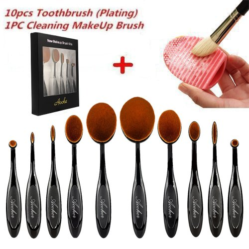 Aoohe Kabuki Oval Toothbrush Contour Makeup Brush Sets with Silicone Cleaning